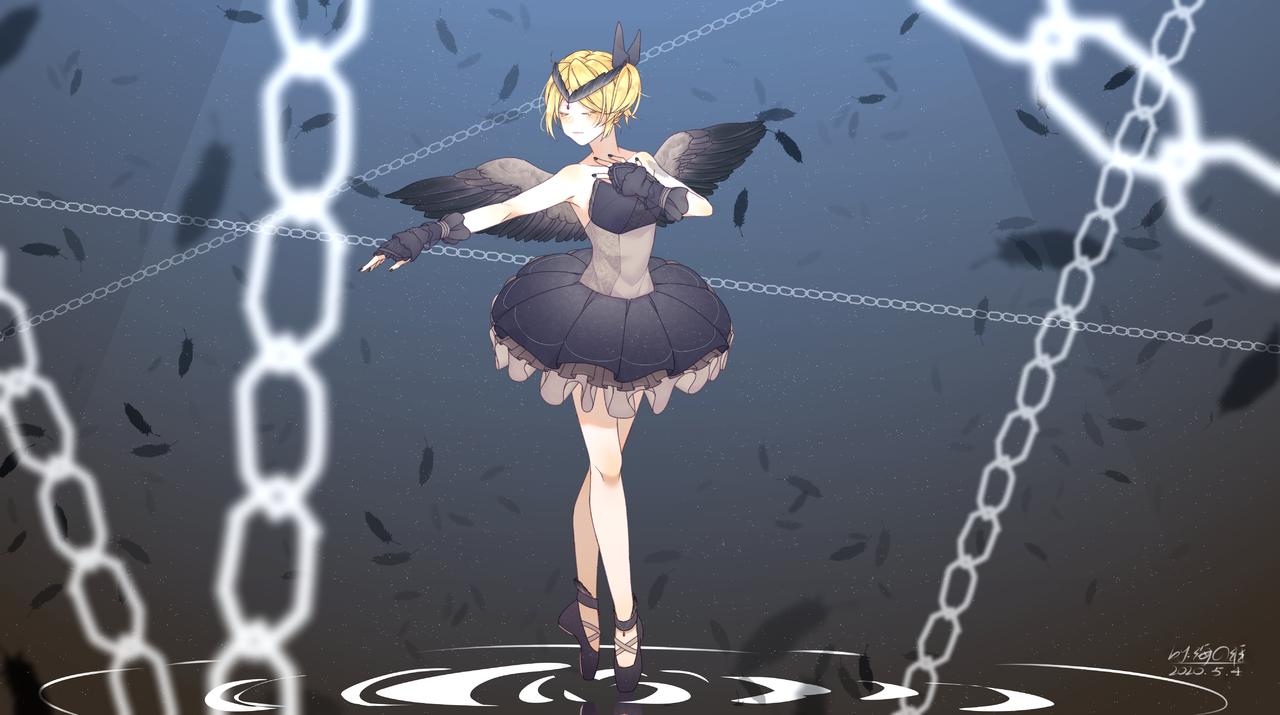 黑天鹅 Illust of 海の涯 rin Kagamine_Rin 黑天鹅 曲绘 VOCALOID 芭蕾