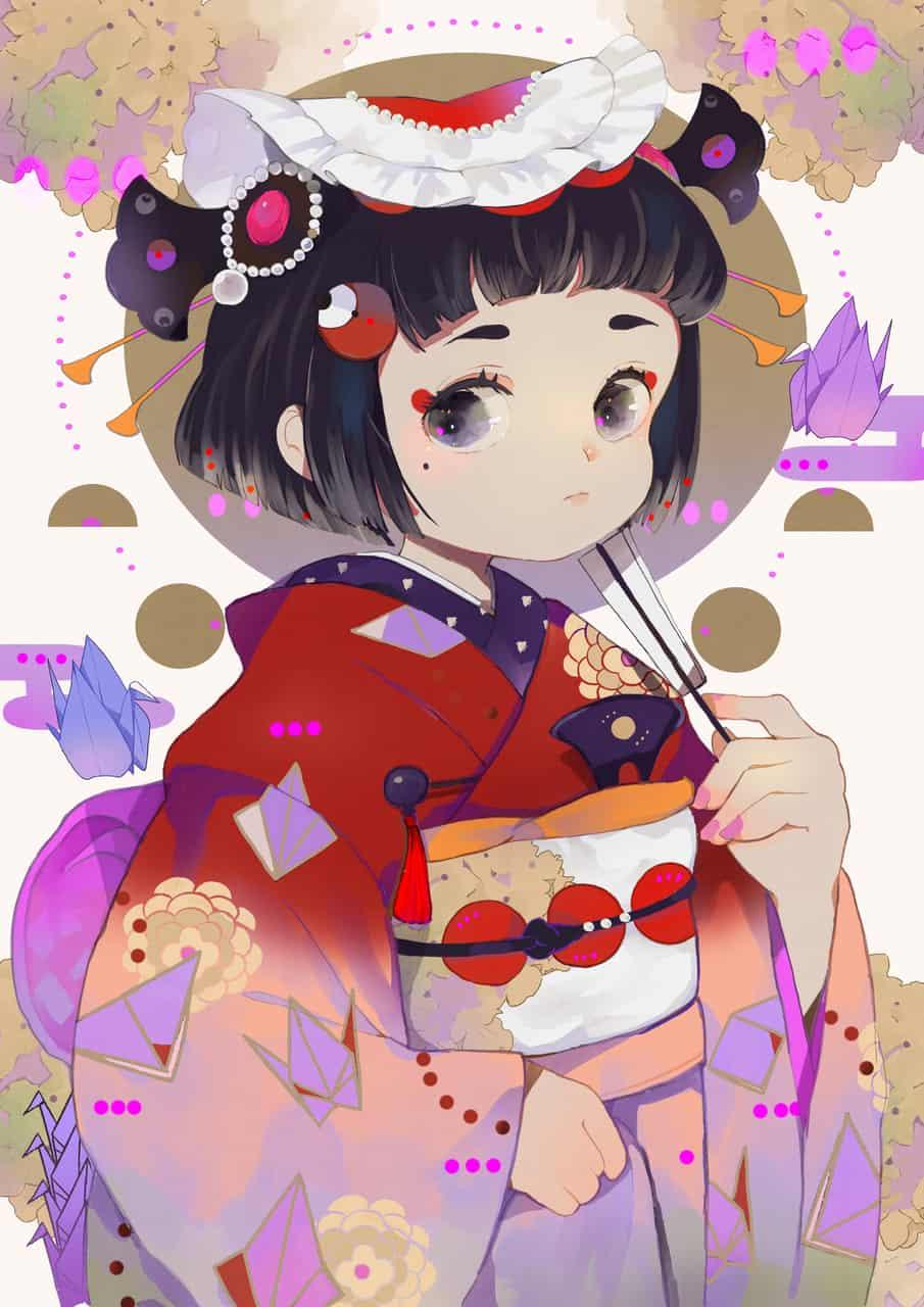 折り色    オリシキ Illust of 白胡椒 Kyoto_Award2020_illustration girl witch original kimono