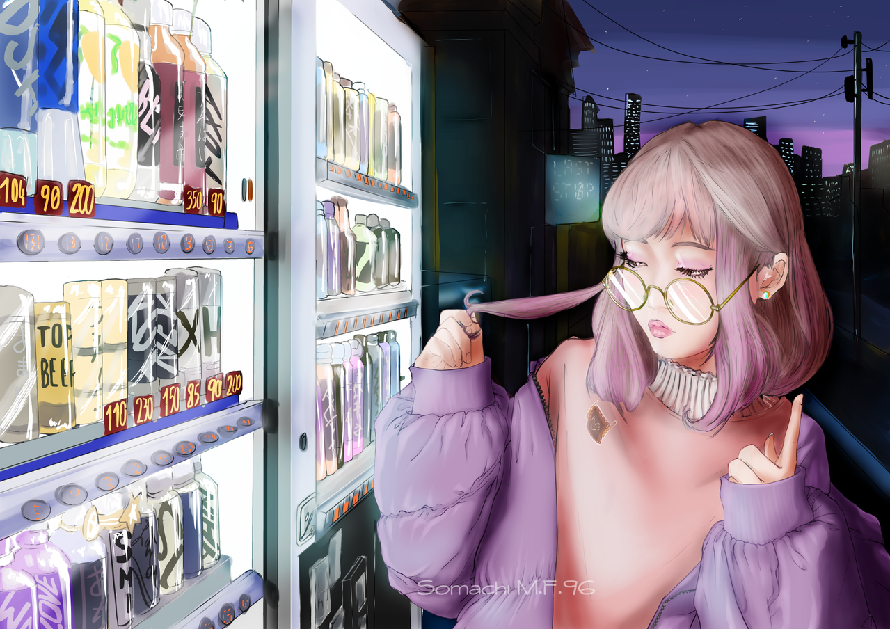 自動販売機  Vending machine  Illust of Somachi MF96 October2020_Contest:Food black cute vendingmachine pink food kawaii oc original semirealism background