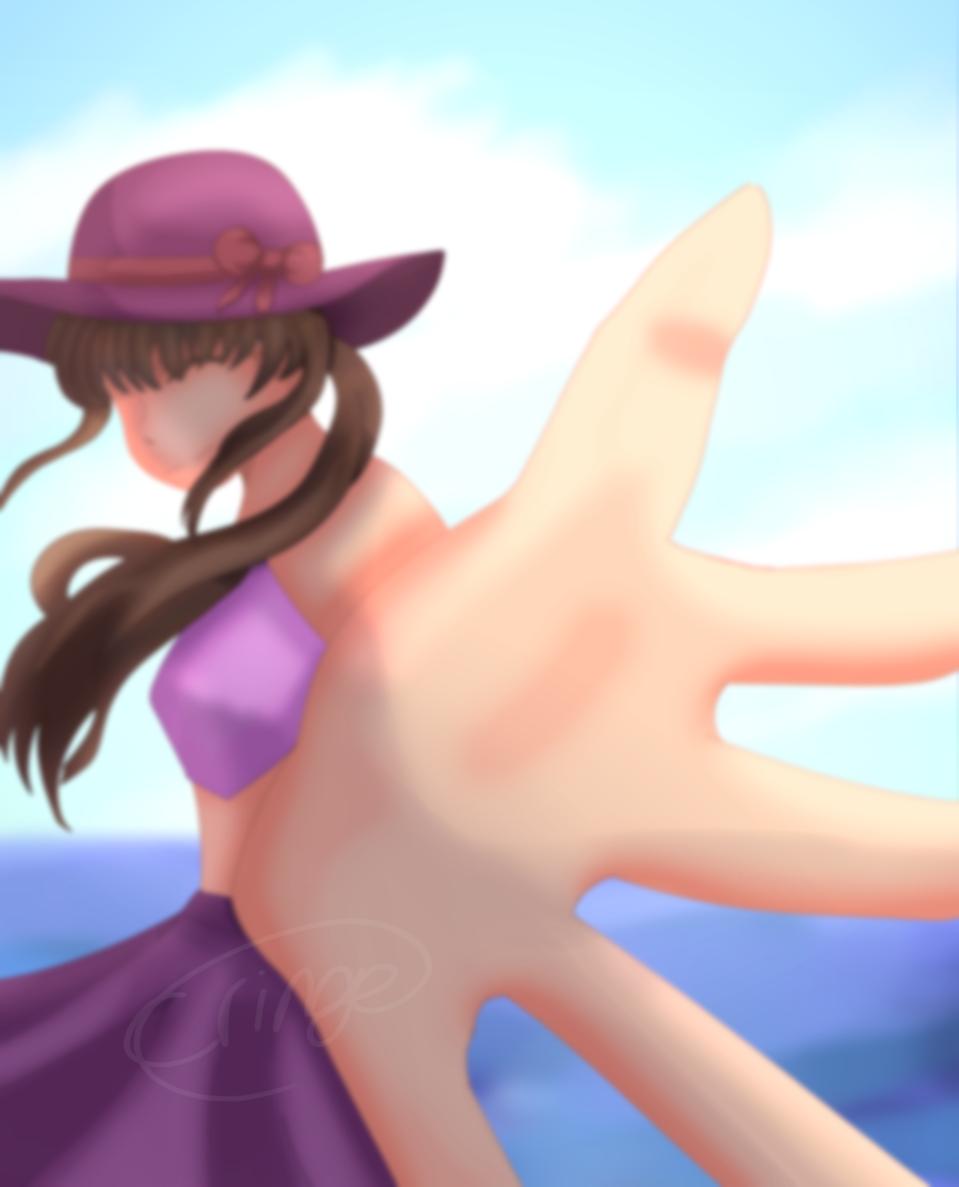 Girl in beach Illust of Cringe Official{Turkey Lord🦃} medibangpaint pink lol girl clouds smile art illustration longhair purple