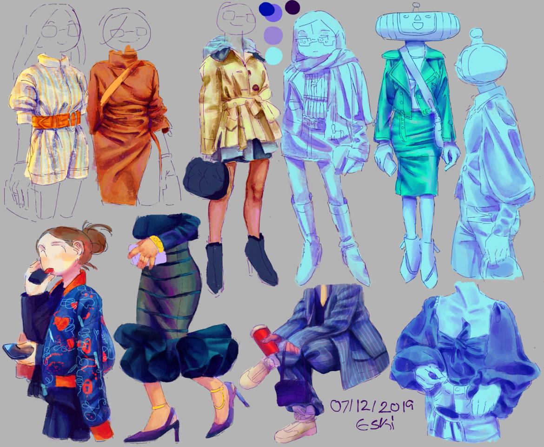 Day 707 Log 815 👚 Illust of Eski study sketch IceLogs twitch medibangpaint cloth