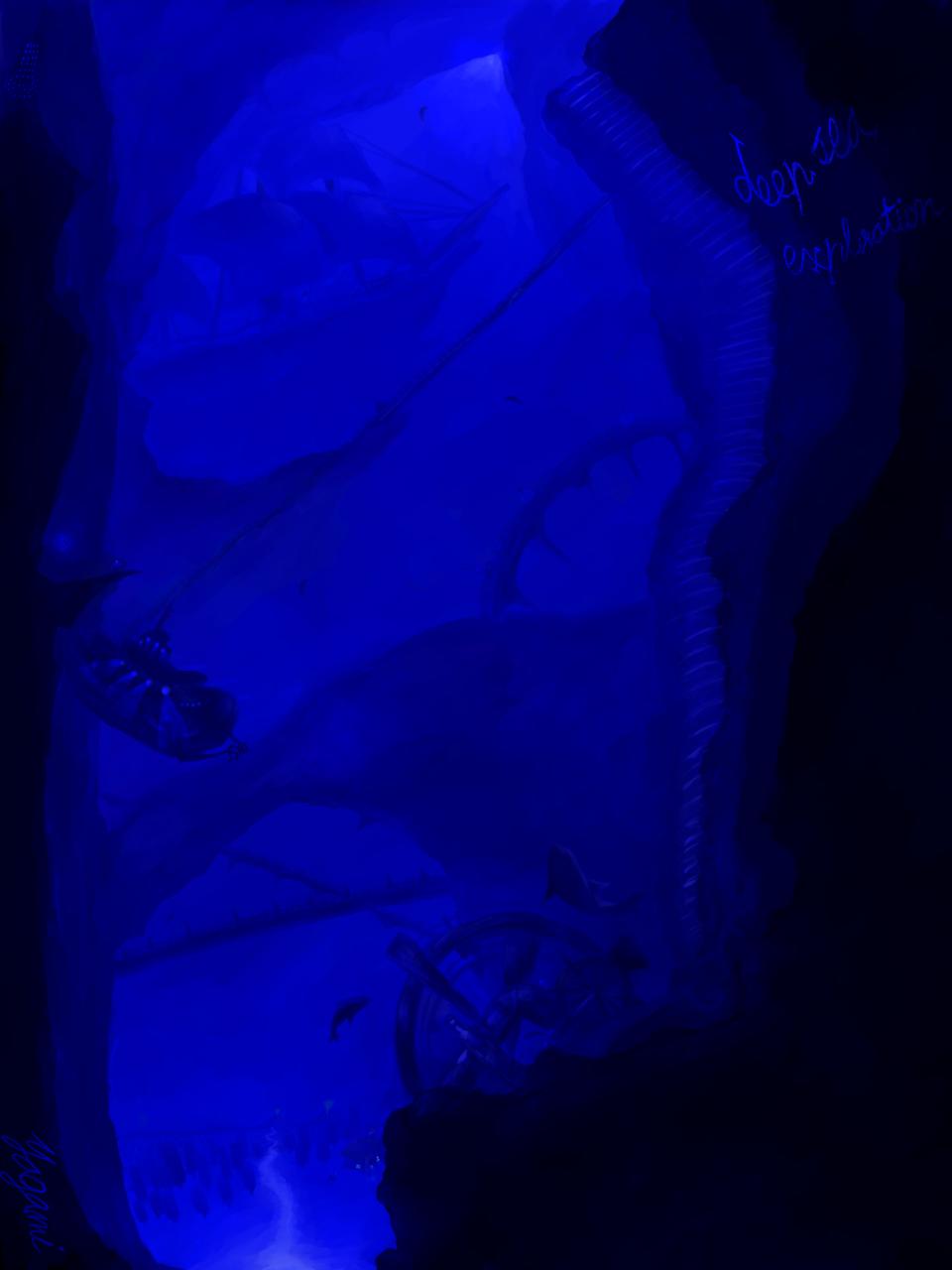 深海探査 Illust of 八神 奏 Post_Multiple_Images_Contest fish 船 潜水艦 sea original scenery
