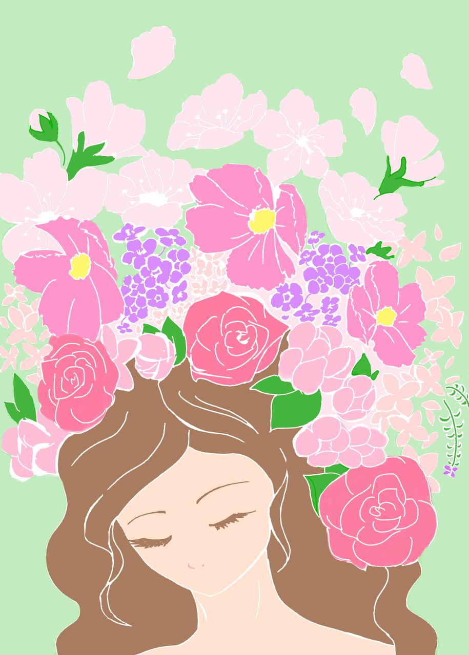 花(春) Illust of Haruki April.2020Contest:Color jumppaint spring girl flower