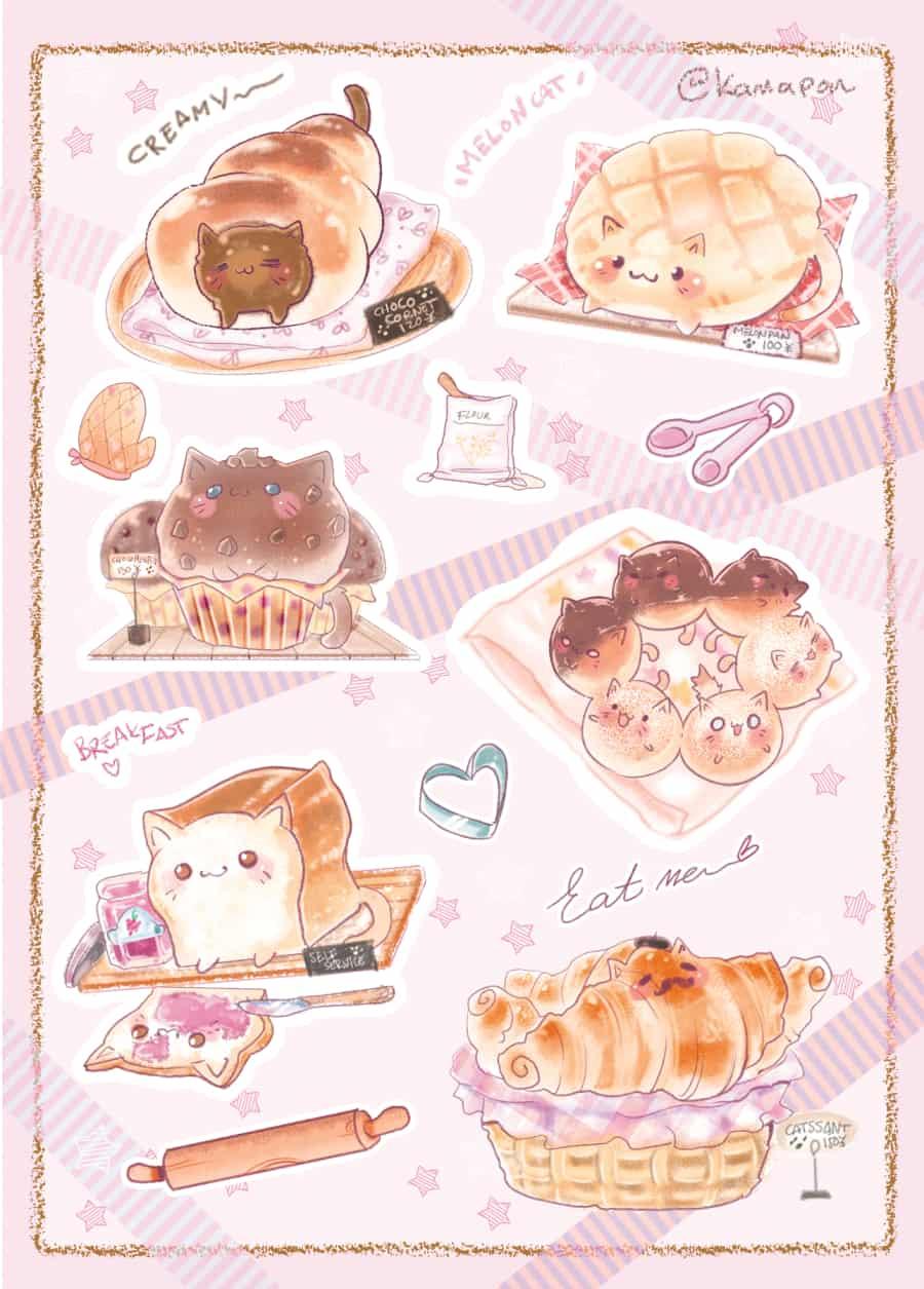 Half baked Kitties Illust of kamapon October2020_Contest:Food half cat pastry kittens kitten baked Melonpan bread