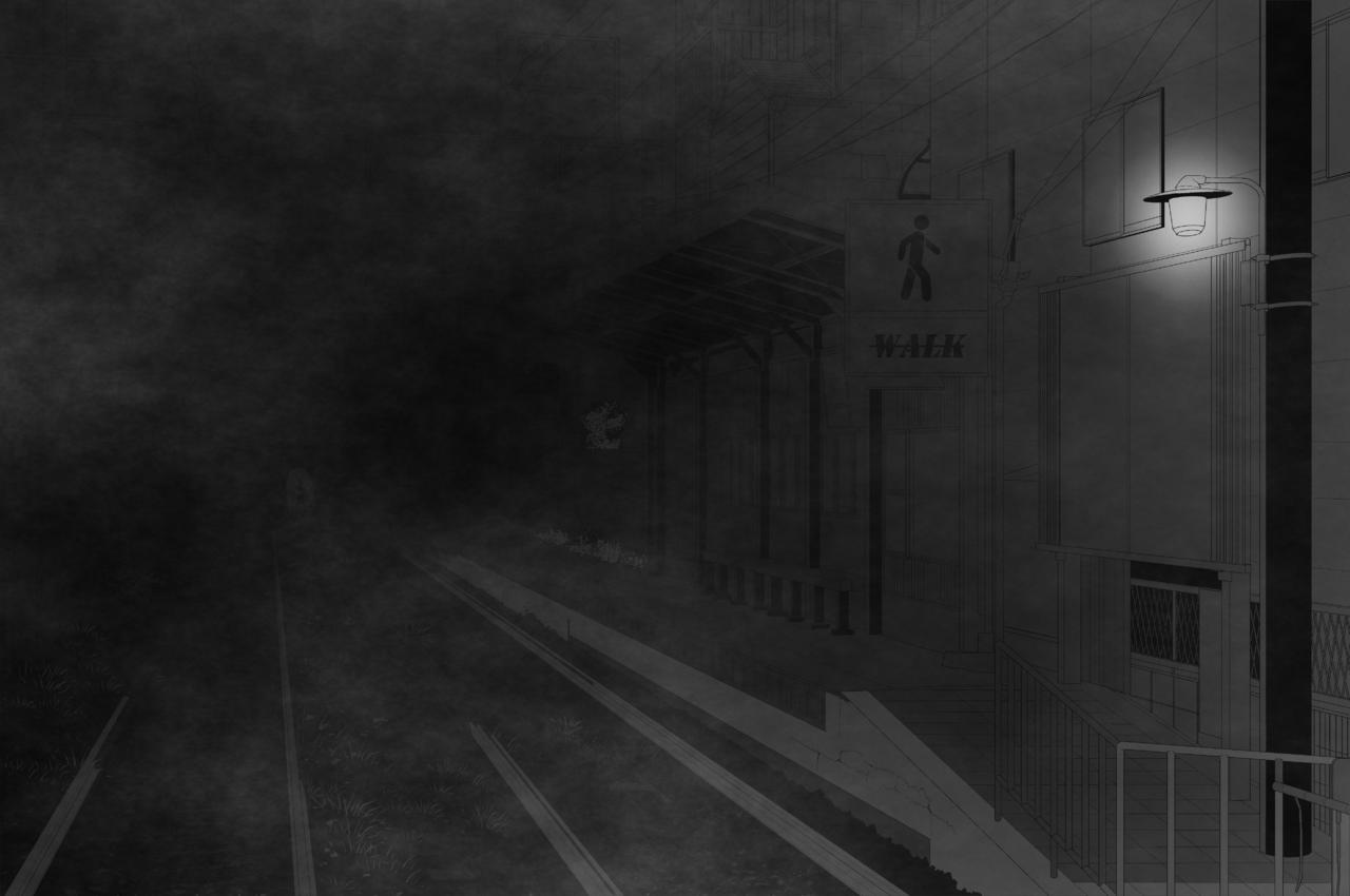 Click-and-Zoom in *Teke-teke Illust of CopperNeon horror Background_Image_Contest BackgroundImageContest_Using_Division night demon Creepypasta monster dark yokai blackandwhite ghost