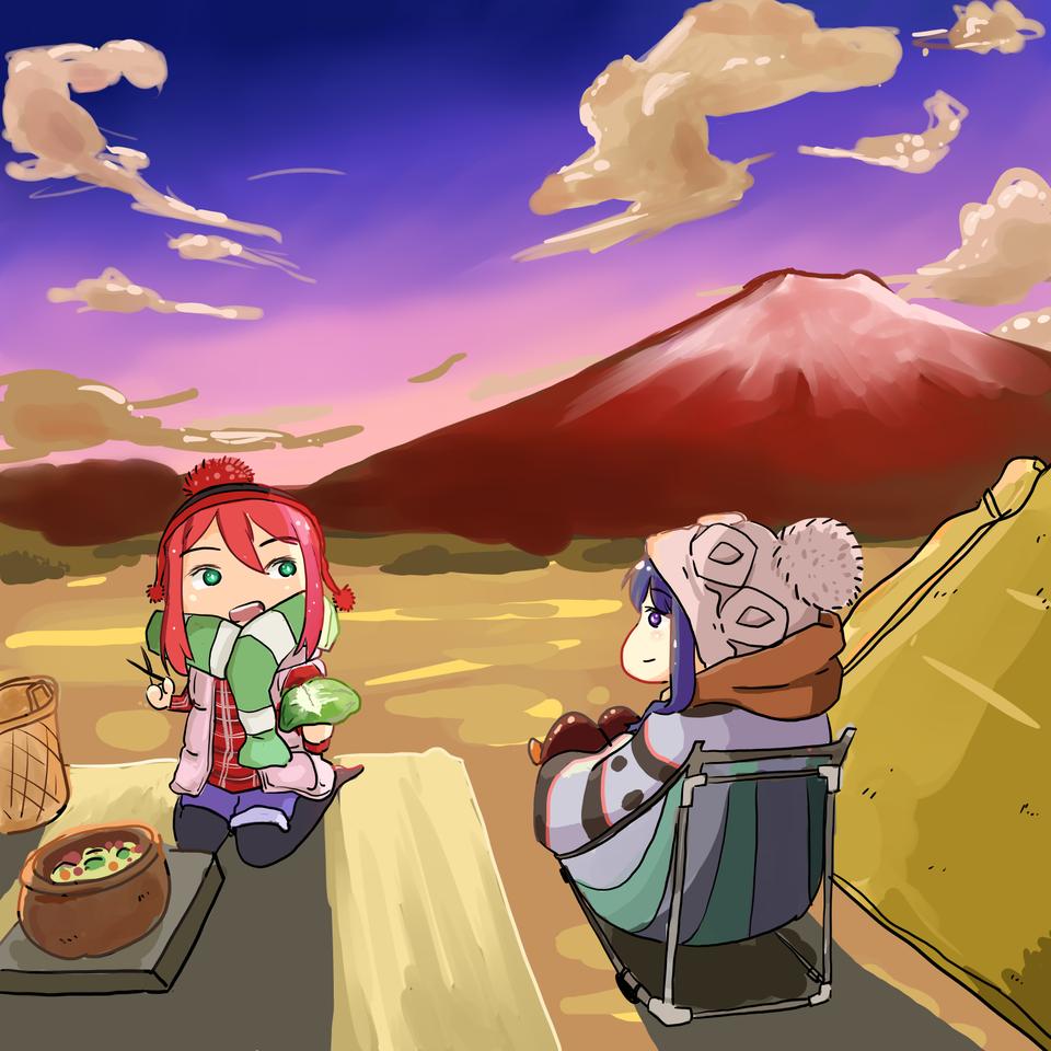 Yuru Camp Illust of Mera Viola mountain MediBangPaintPro Laid-BackCamp camping Rin Nadeshiko