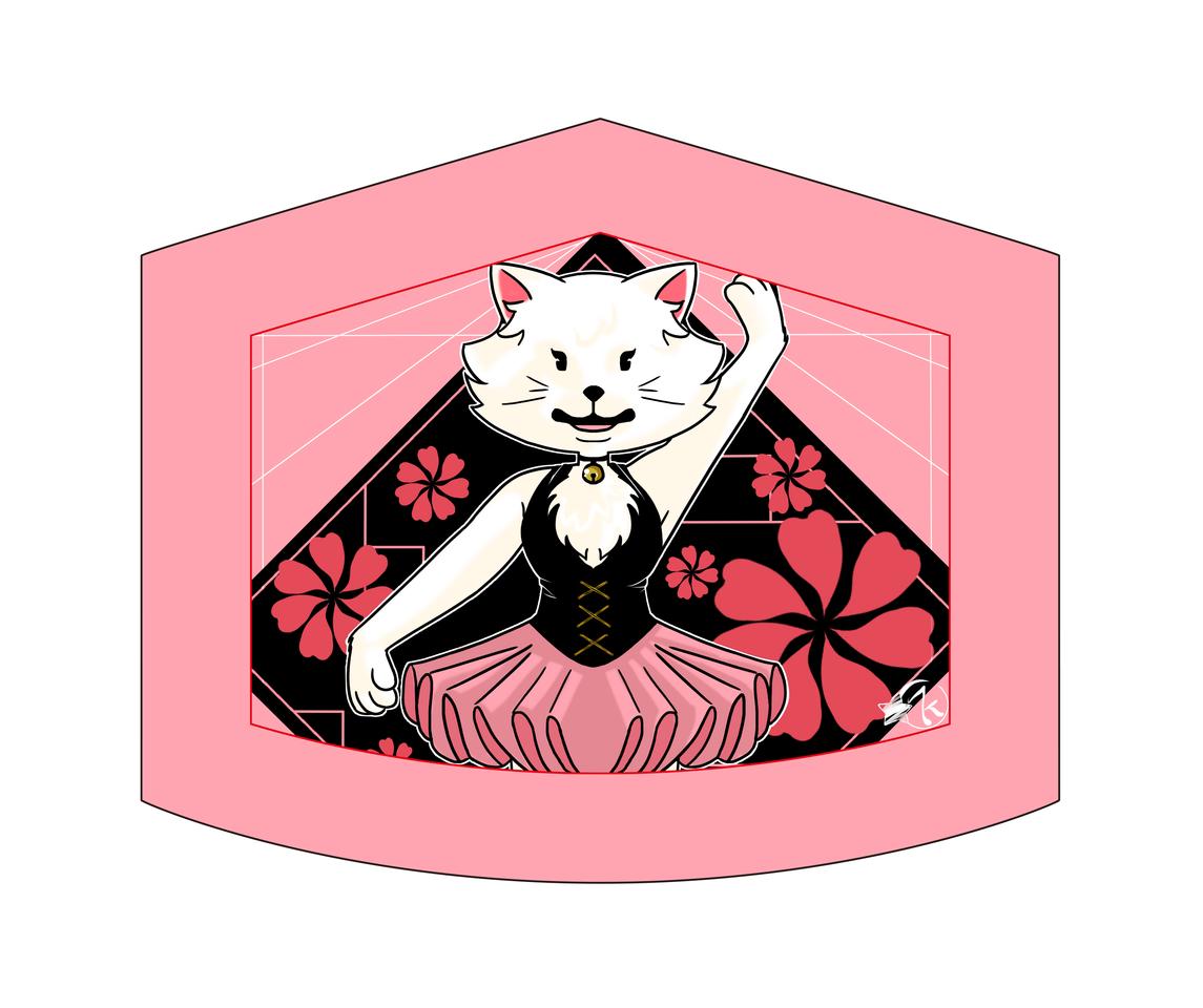 Mascarilla de gatita Illust of Karenhc August2021_Animal MaskDesignContest June2021_Anthropomorphism art fursona illustration oc cute anime cat_ears color digital chibi