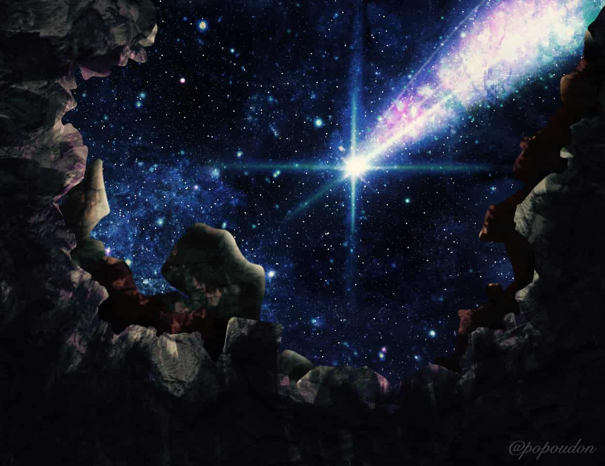 絶望の淵 Illust of ぽぽうどん star starry_sky scenery 夜空 風景画