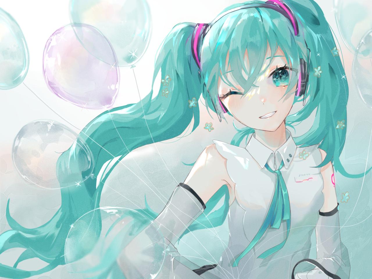 ミクのひ! Illust of neon VOCALOID hatsunemiku illustration ミクの日 Balloon