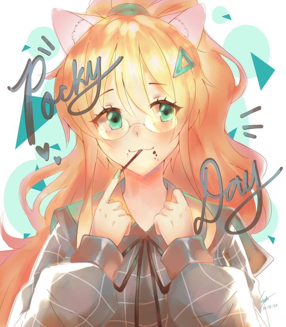 pocky day fanart Illust of Ecchiban-Sensei cute cat_ears animegirl anime pocky