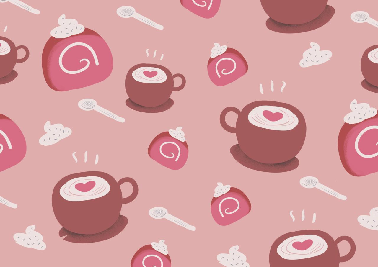 Cafe cake Pattern Illust of Andinatz medibangpaint iPad_raffle