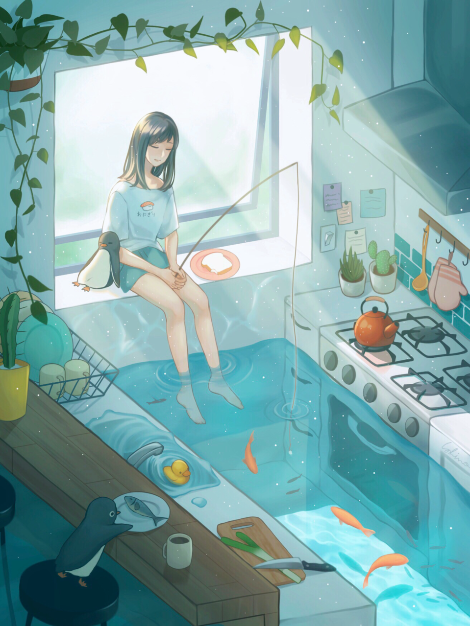 水縹とざくろ Illust of しの water girl Penguin original