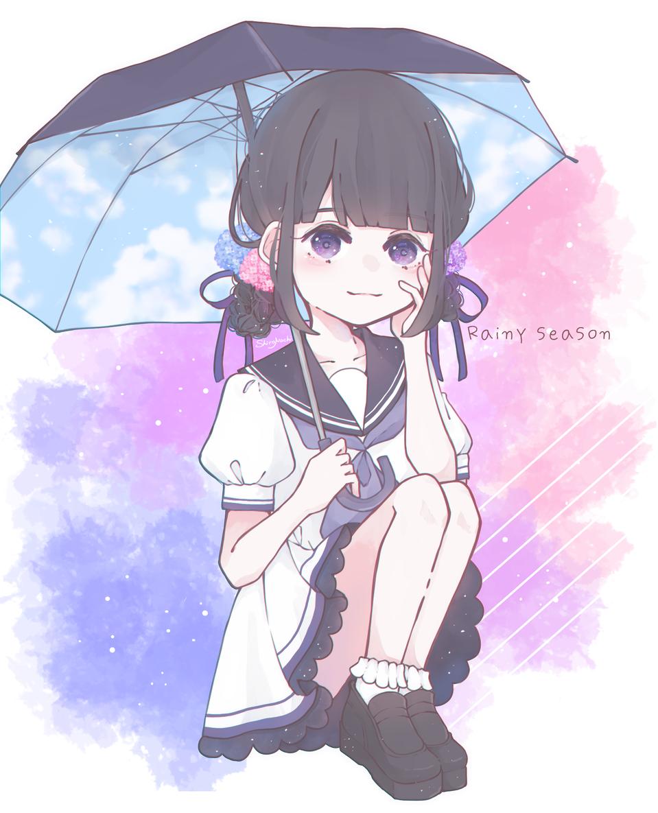 ☂.*。 Illust of しろなち original girl 梅雨 hydrangea medibangpaint illustration umbrella sailor_uniform