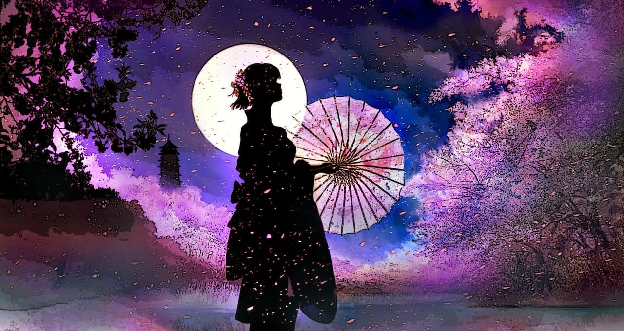 月光下的櫻花少女 Illust of 晴夜星子 April2021_Flower 第一屆繪王盃角色創作大賽 月光 girl 櫻花樹 sakura 櫻花少女