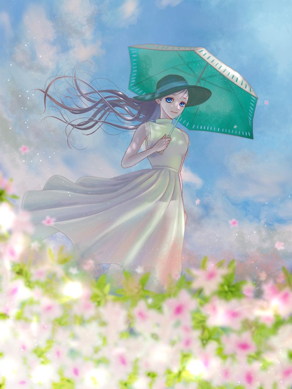 つつじの季節 Illust of FJ April2021_Flower flower girl モネ オマージュ kawaii umbrella