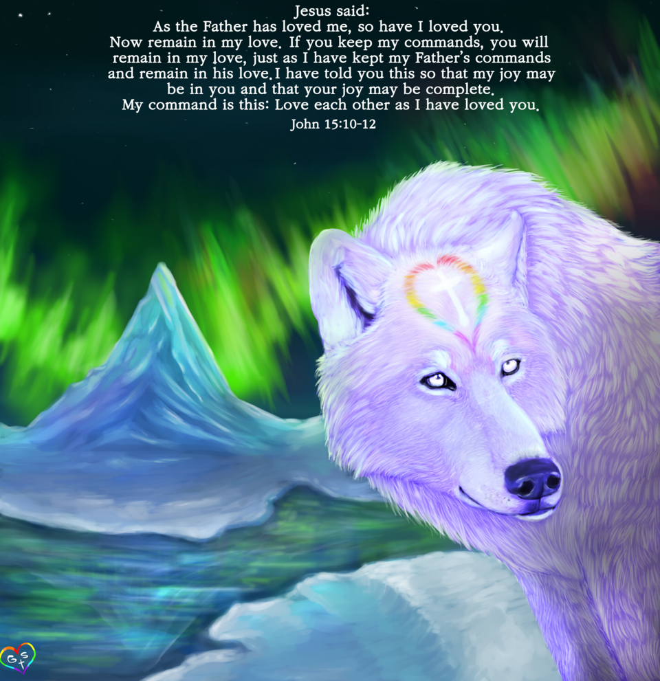 The Holy White Wolf With The heart of a loving hum Illust of XxGoodSpiritxX