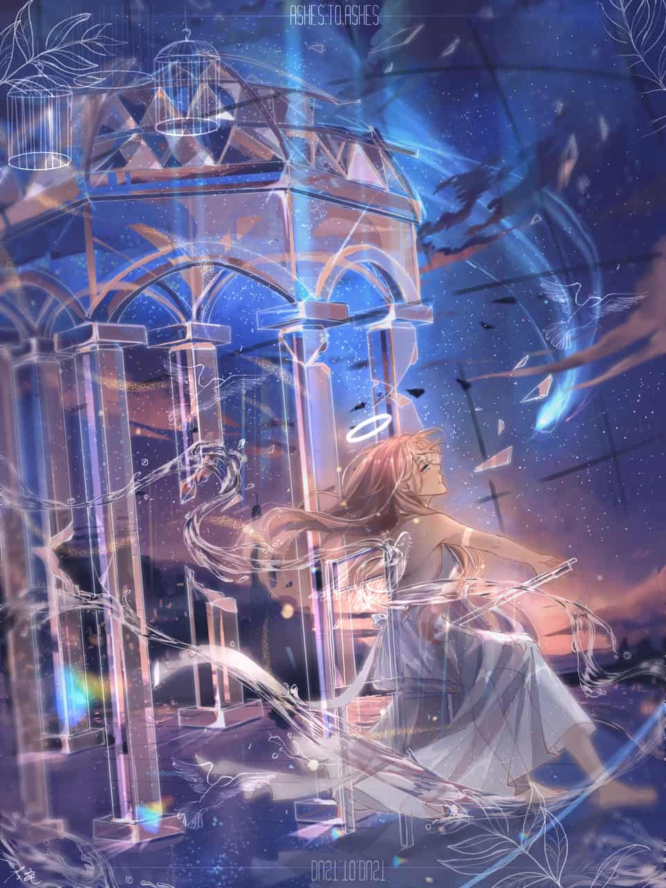 真就喜欢些 Illust of 那我男神就张培基吧 starry_sky girl original illustration water
