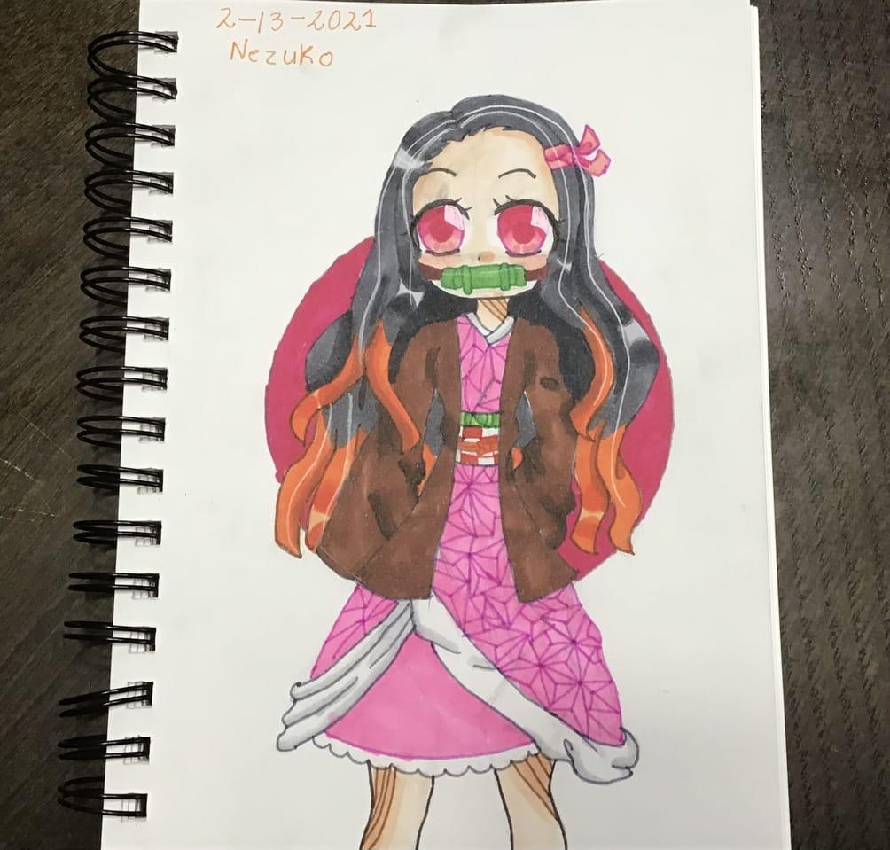 Nezuko Illust of {Boba Leaf}🌿 animegirl cute KamadoNezuko sketchbook medibangpaint ohuhu KimetsunoYaiba