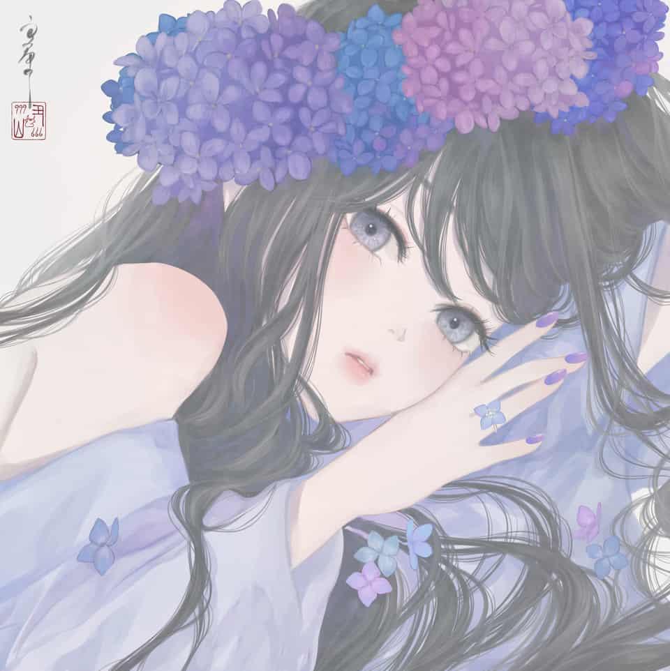 君に移ろふ Illust of 丑山 hydrangea girl flower