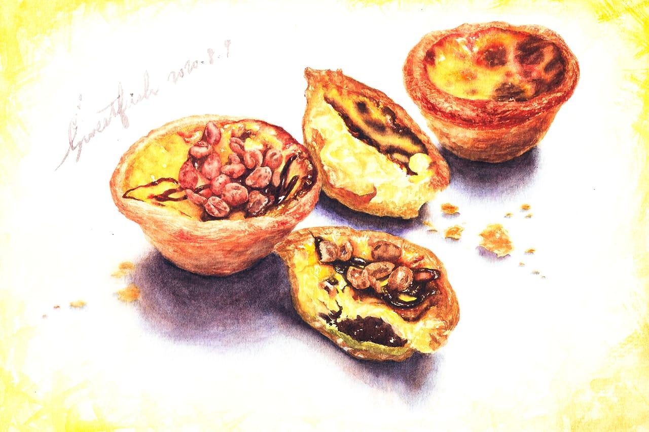 Portuguese Egg Tarts Illust of Sweetfish October2020_Contest:Food illustration 食物插画 水彩画 水彩插画 food art foodillustrations watercolor Watercolors sweet