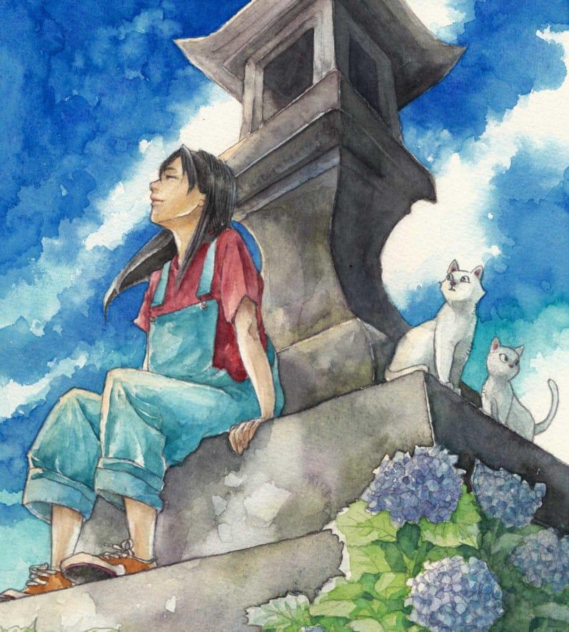 薫風 Illust of フジカワ watercolor cat sky アナログ