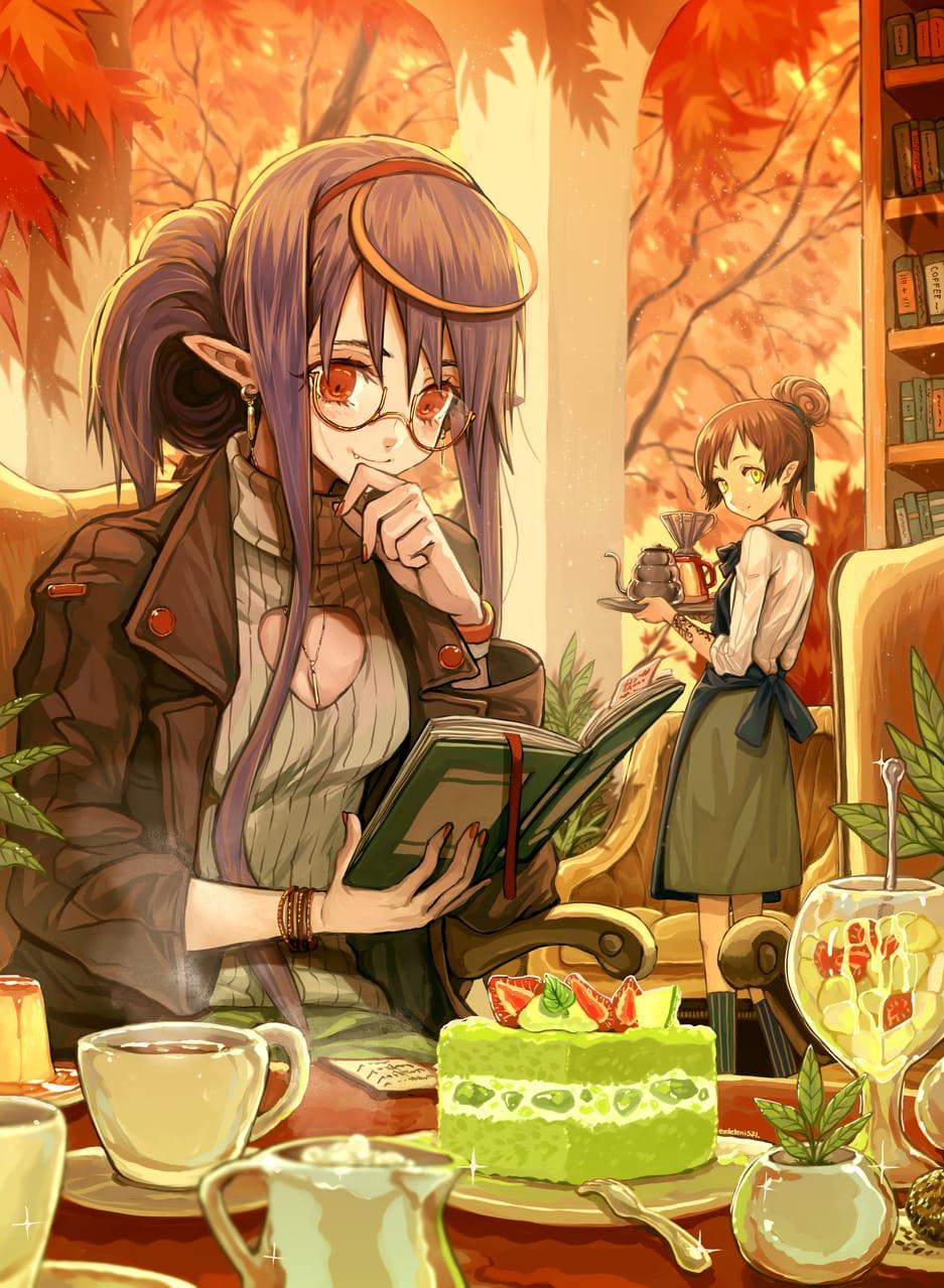 本とコーヒー。 Illust of EUDETENIS February2021_Fantasy January2021_Contest:OC コーヒー 本 EUDETENIS girl