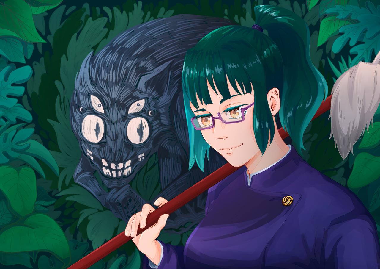 Maki Zenin Illust of Mr.Sheogorath JujutsuKaisenFanartContest monster anime Cursedspirit JujutsuKaisen plants medibangpaint MakiZenin Fingerpaint