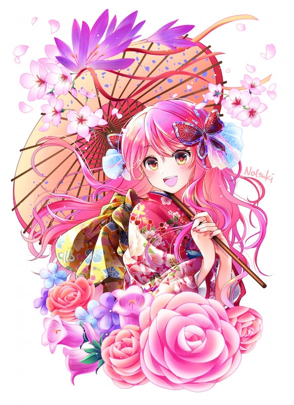 百花繚乱ー桃ー Illust of 能勢ナツキ April2021_Flower pinkhair girl Japanese_style oc 和風ファンタジー kimono kawaii original