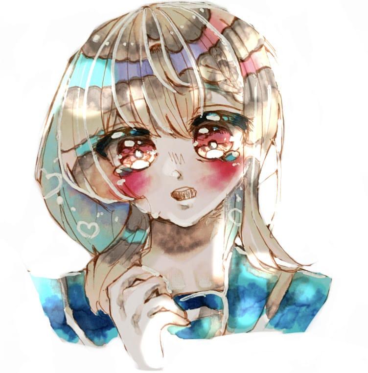 雨上がり Illust of フラミパン doodle AnalogDrawing girl head tears oc アナログ バストアップ sailor_uniform 過去絵