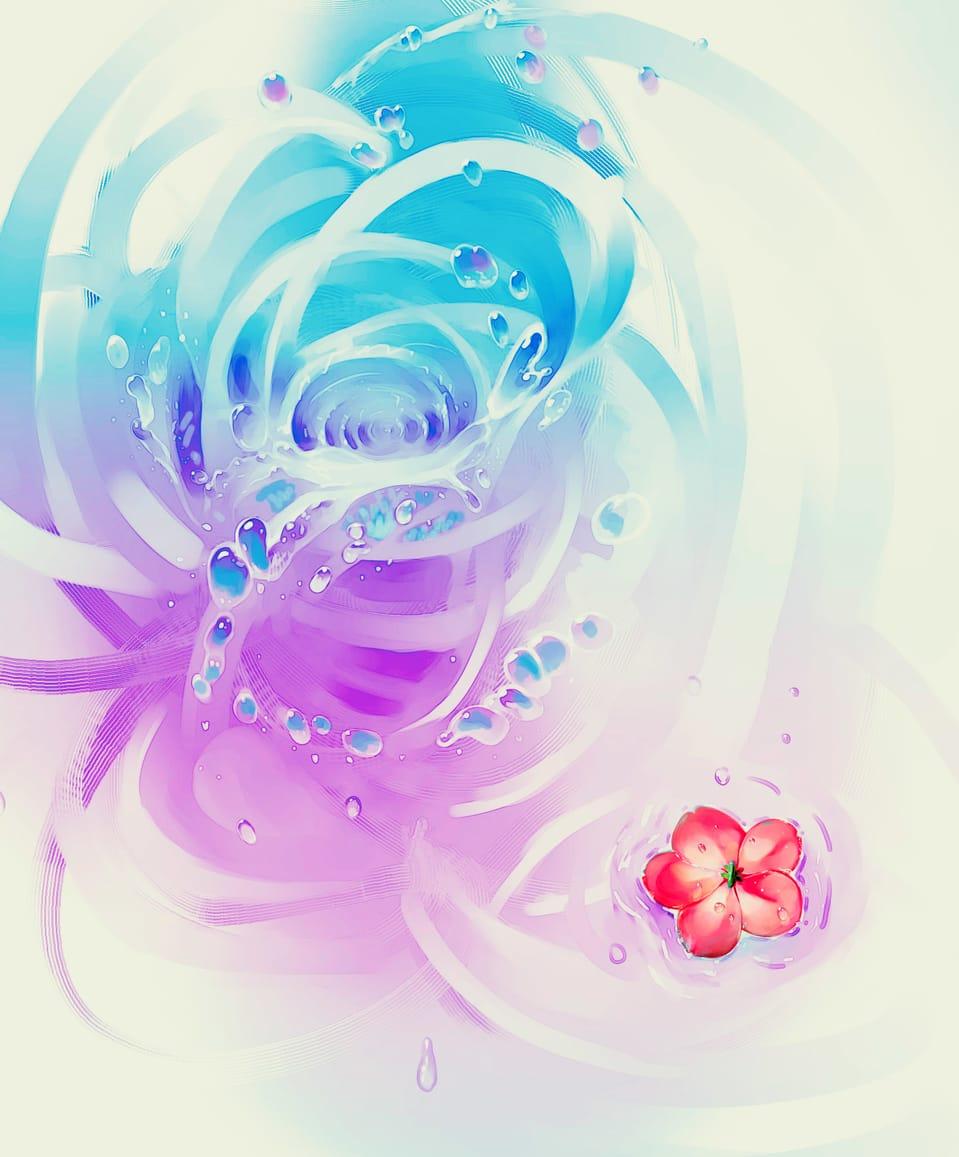 Flowers in water Illust of Lear April2021_Flower water art flower
