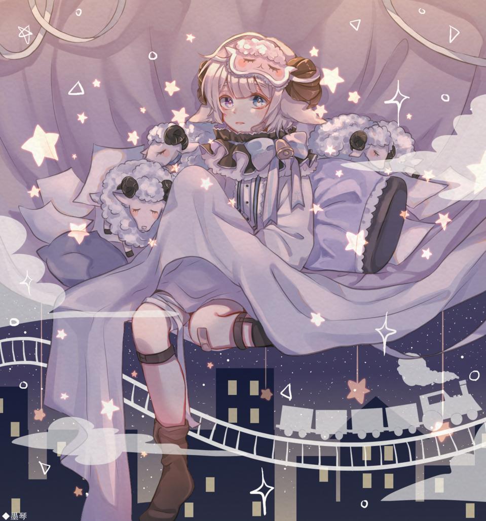 羊の夢 Illust of もち 墨琴 medibangpaint sheep night