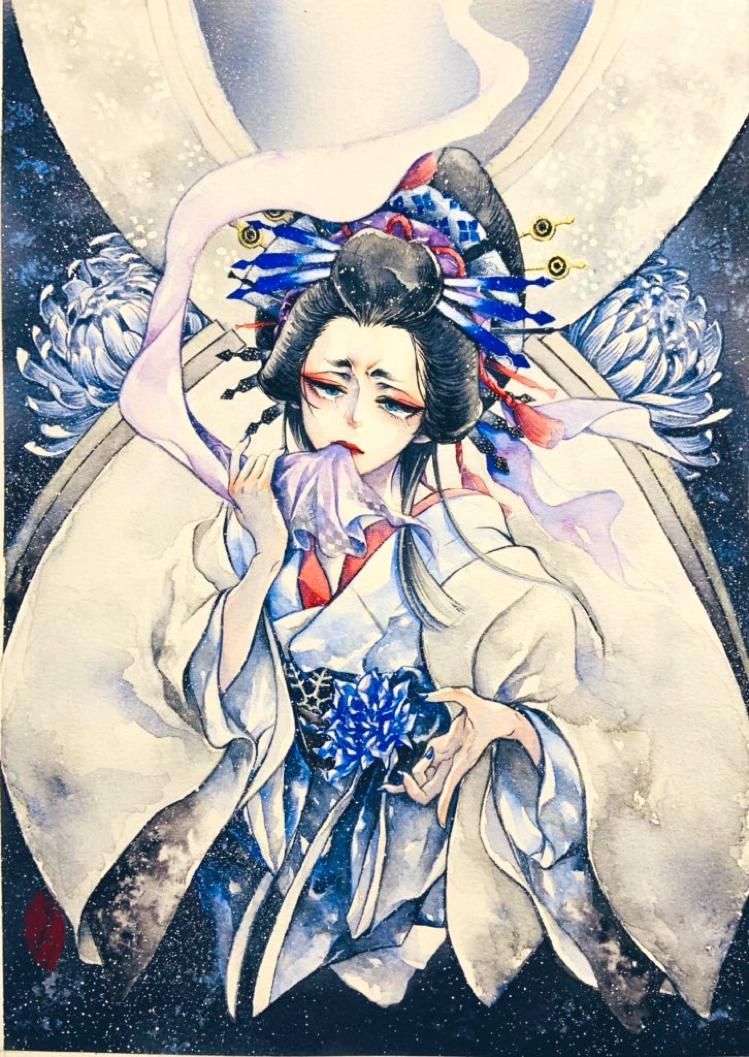 雪女郎 Illust of リゥ 透明水彩 kimono 絵墨 花魁 アナログ original
