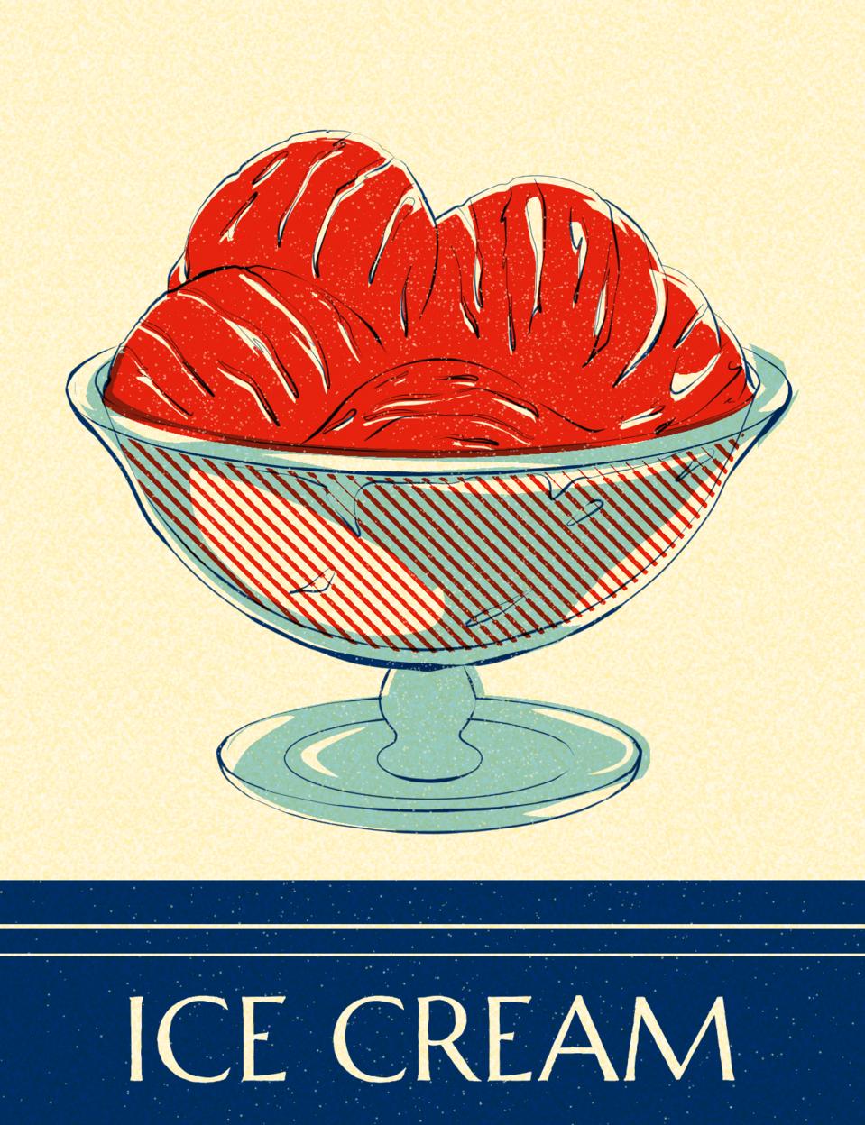 Newsprint Ice Cream Illust of Apey.art October2020_Contest:Food food