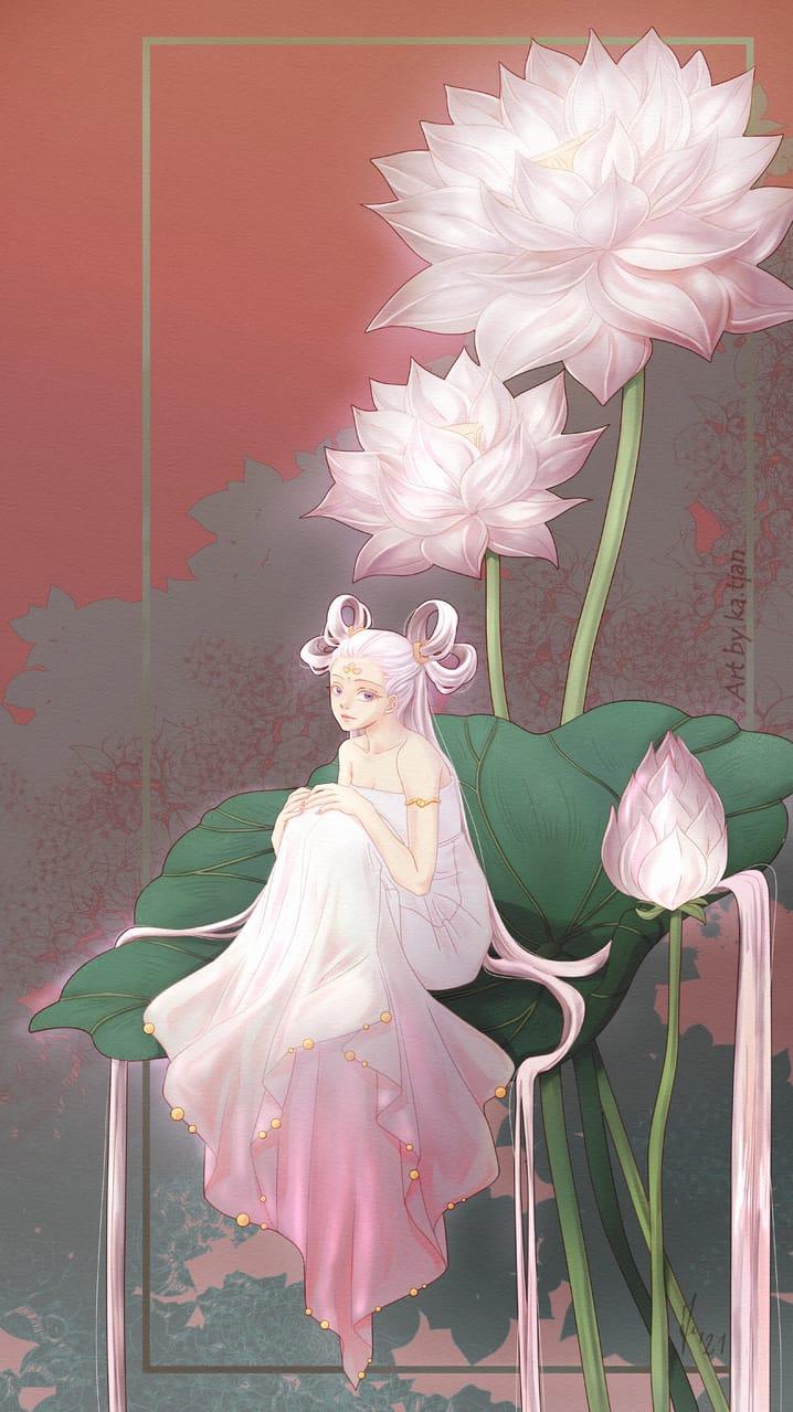 White lotus Illust of ka.tjan April2021_Flower kawaii fantasyart Chinese flower oc lotus flowers anime beautiful pinkhair