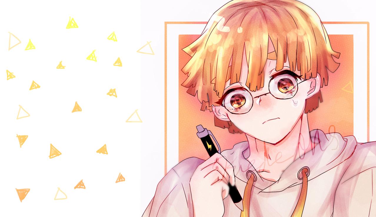 めがね⚡ Illust of Kaede0118* Whereabouts art* KimetsunoYaiba glasses AgatsumaZenitsu 現パロ
