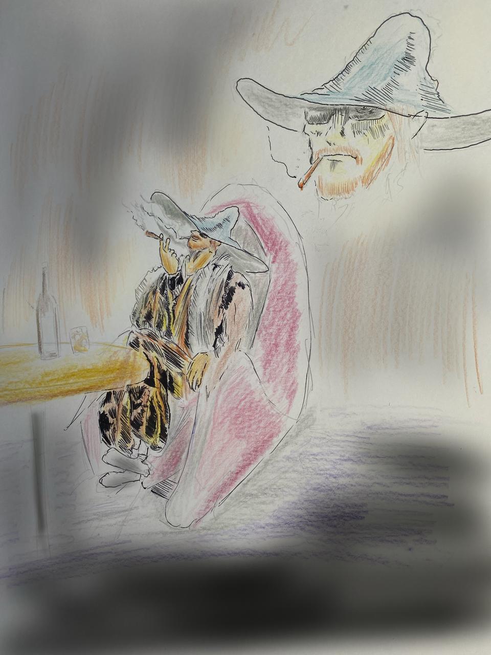 静かな夜 Illust of いちぢく night イス medibangpaint 酒 男 タバコor葉巻 モチーフはスナフキン