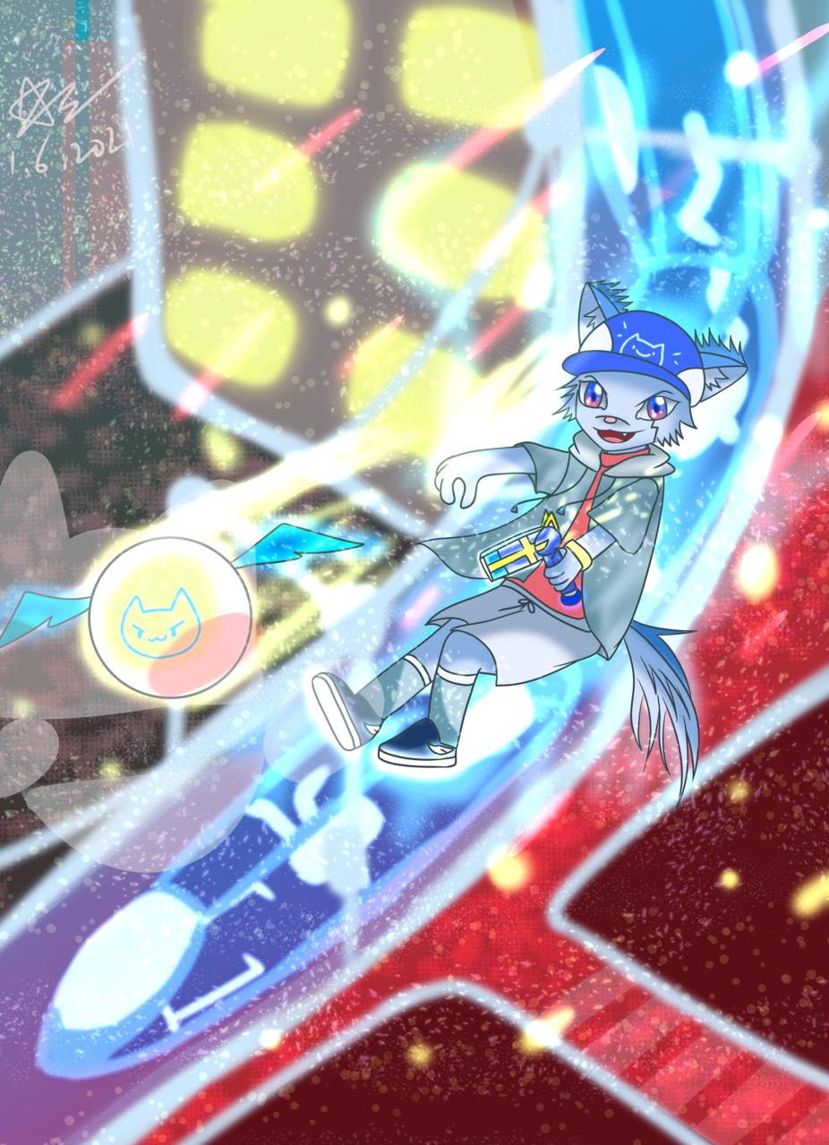 藍貓與機械兔之閃亮的空中決戰 Illust of 神祕的星彩star shiny cat 訓練背景 bluecat bright fight Coolcat brightcolors 特效blingbling