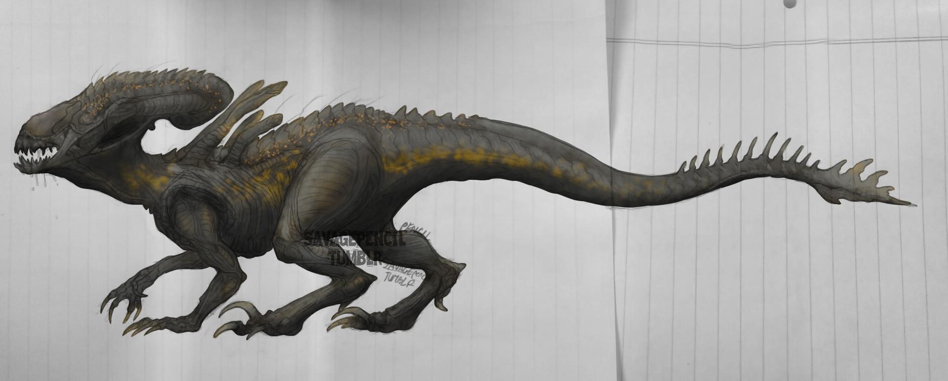 IndoraMorpho Illust of Vesulolgamer210 medibangpaint oc drawing fiction alien dinosaur