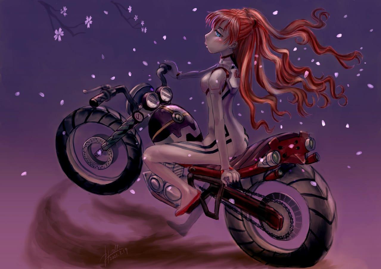 シンエヴァンゲリヲン アスカと2号機バイク Illust of かごめはん アスカ・ラングレー sakura EVANGELION motorcycle シンエヴァンゲリヲン