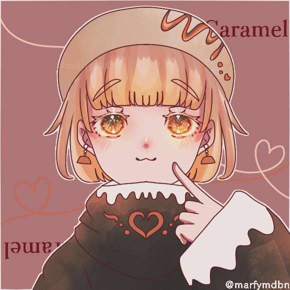 caramel macchiato Illust of Marfy メルヘン きらきら Personification kawaii ハート girl スイーツ キャラメル portrait blonde