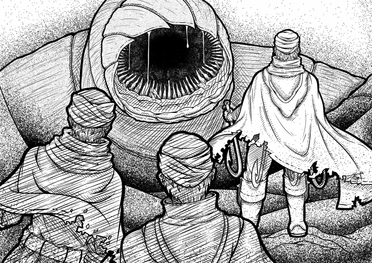 Blog Illustration Illust of Zarya Post_Multiple_Images_Contest line_art drawing worm cape warrior deset illustration dune line man