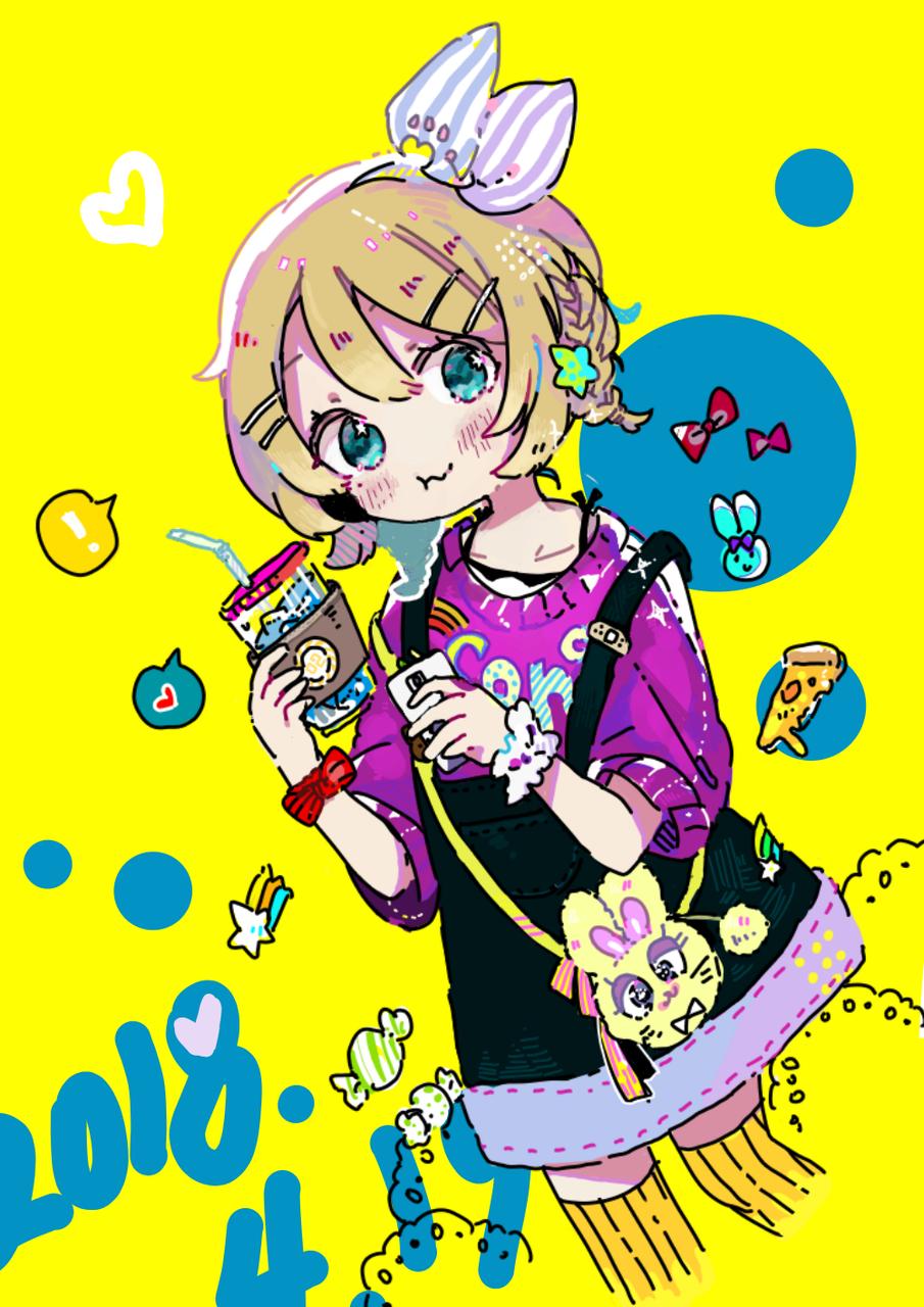 2018.4.19 Illust of Niwa medibangpaint Kagamine_Rin kawaii VOCALOID おしゃれ