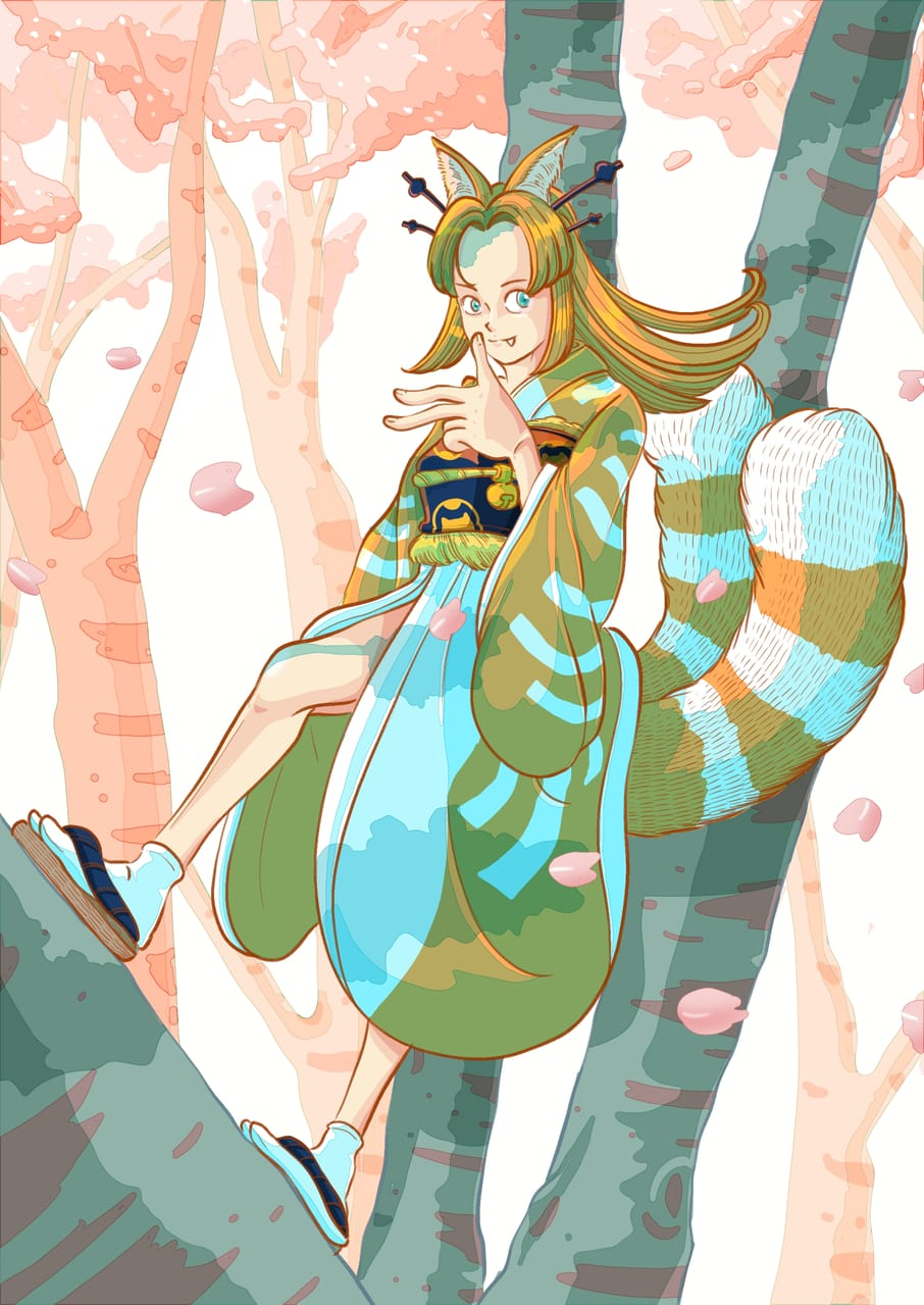 Nekomata Hime climbed up the sakura tree. Illust of Wutikai April2021_Flower cat_ears cat sexygirl Japanese_style cutegirl kimono youkai scenery oc girl