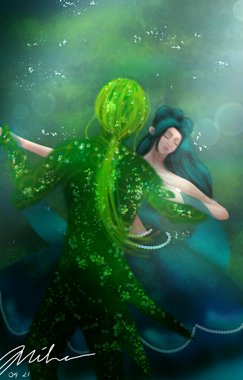 Dancing With Forest Illust of MiHaMiHi fantasy April2021_Flower medibangpaint ButterflyFairy forest Dancing Man girl Mobile night