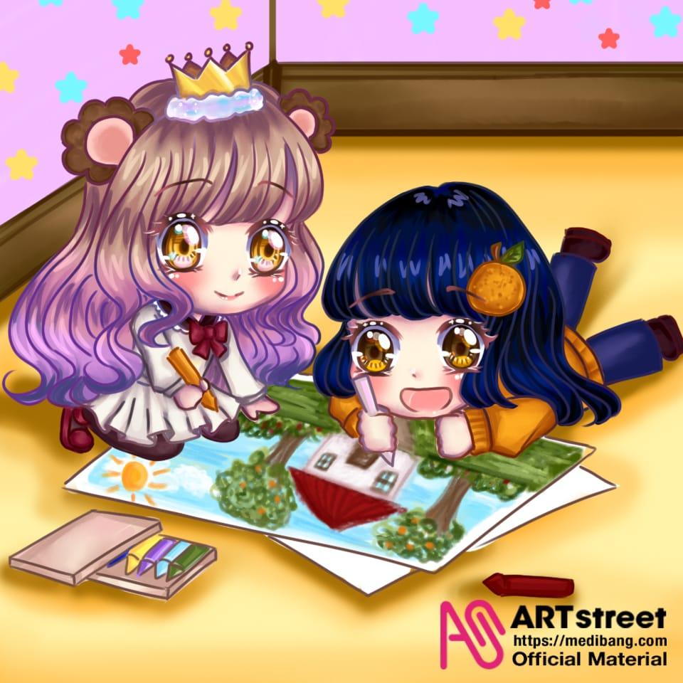 trace and drawing 4th illustration contest Illust of Sumomo tracedrawing4th chibi illustration Trace&Draw【Official】 animegirl cute art cutegirl digital