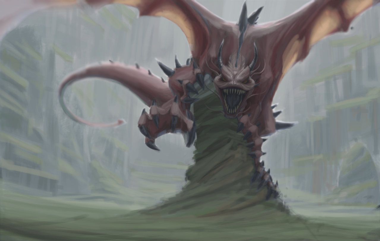 Fantasy Art Contest - Entry Illust of Nome fantasy February2021_Fantasy red Mist dragon
