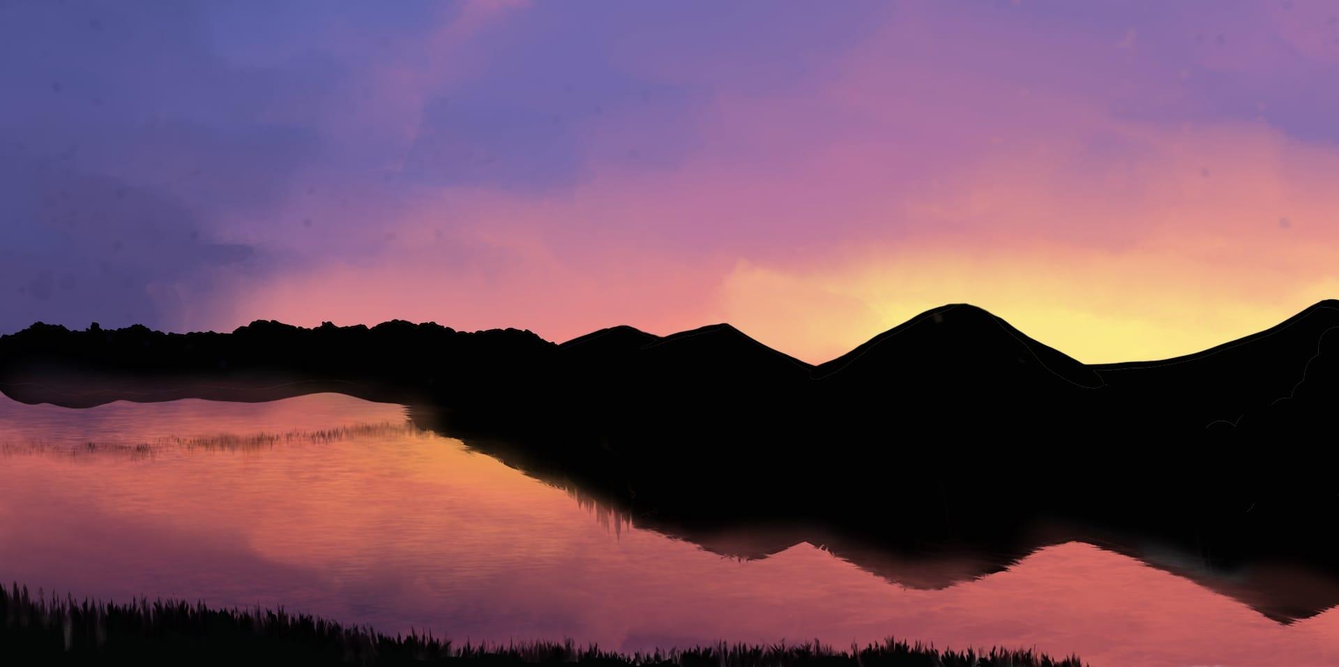 Sunset Illust of OneLunarKitty background sky sunset nature pastel scenery water