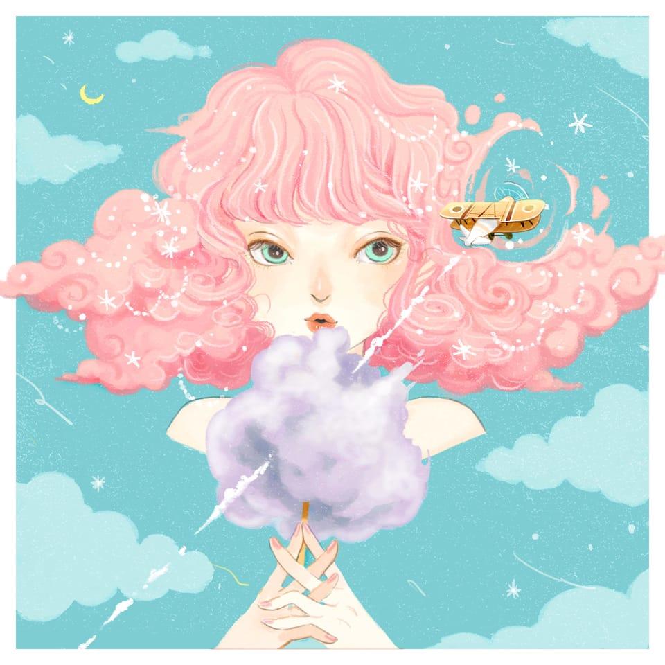 棉花糖女孩 Illust of Charmaine Lee pinkhair illustration airplane girl clouds pink 春 cottoncandy illustrations magic