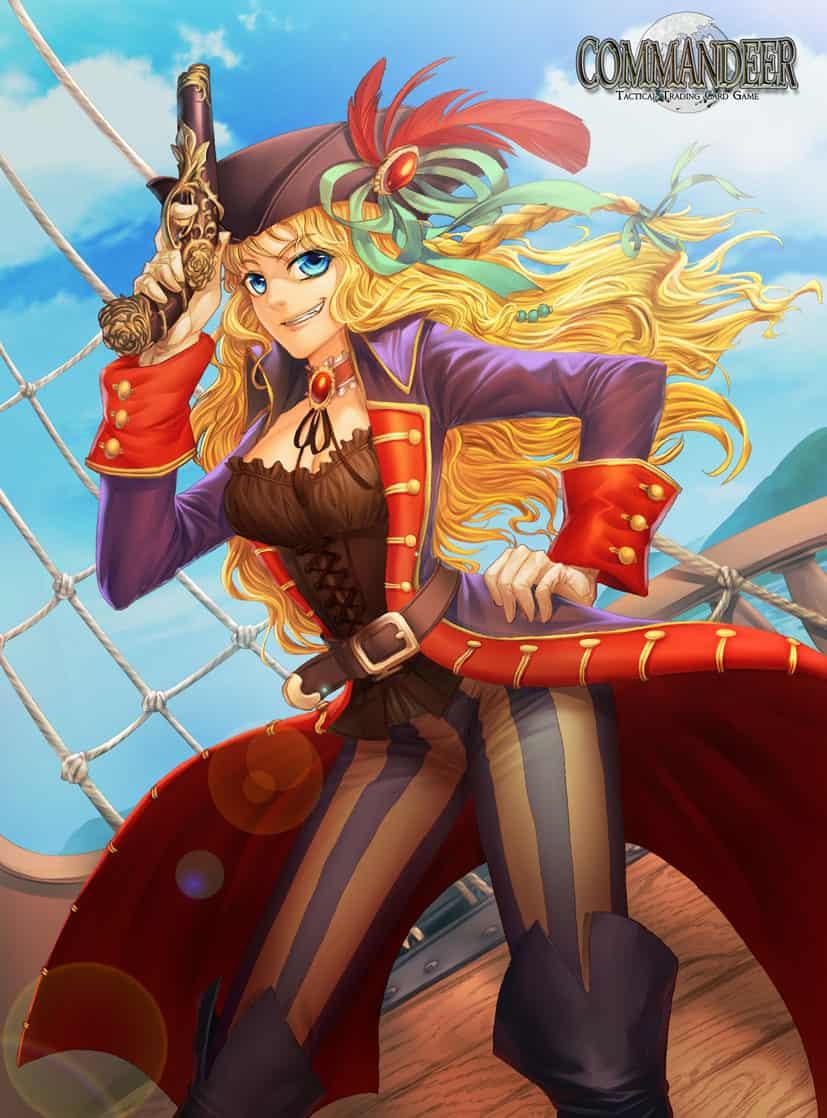 Commandeer card game set1 Illust of Rusharil fantasy illustration girl musician pirate angry ARTstreetRanking dancer card
