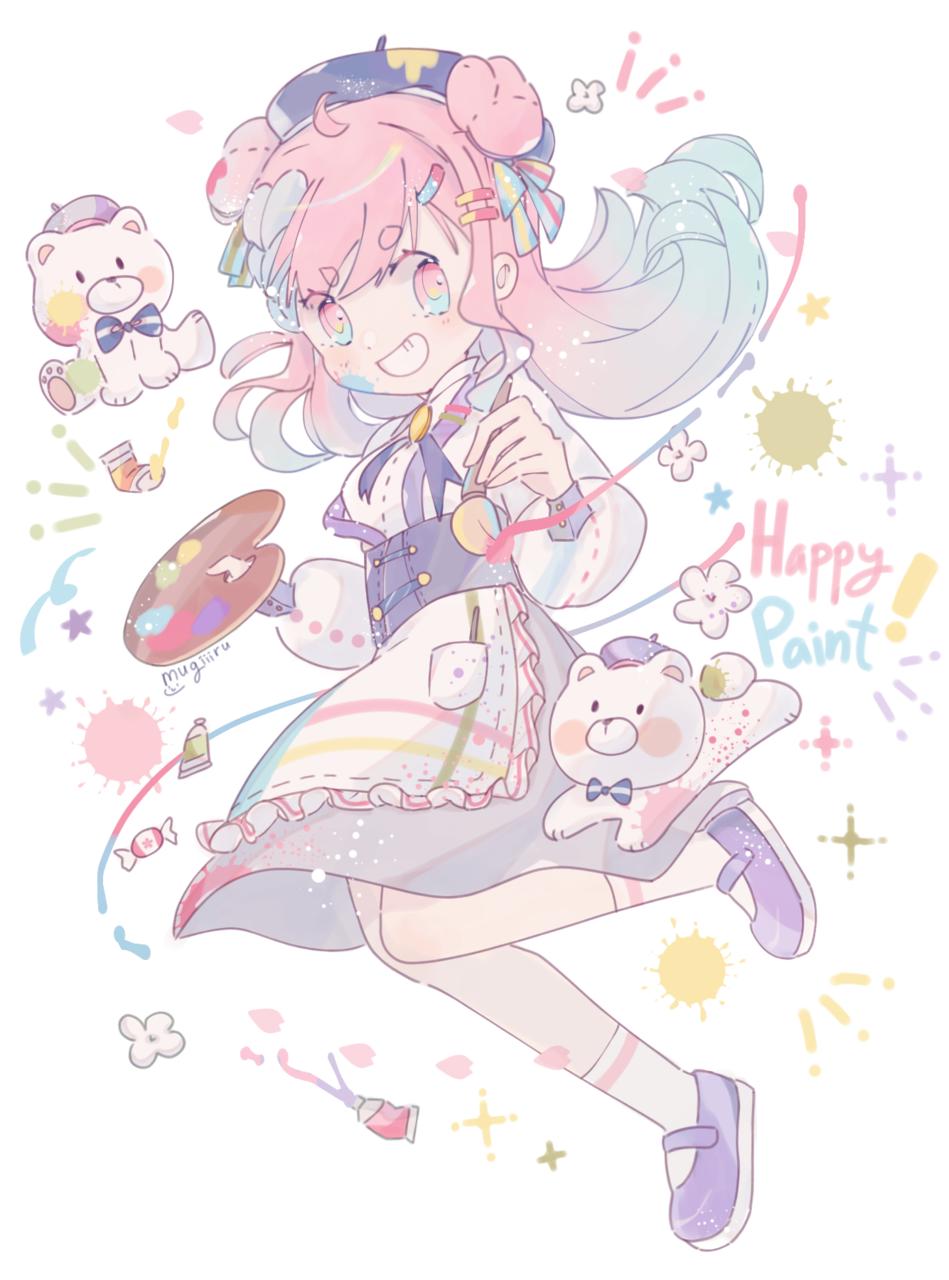 Happy Paint! Illust of mugiiiru kawaii pink cutegirl animegirl pastel oc pastelcolors colorful happy